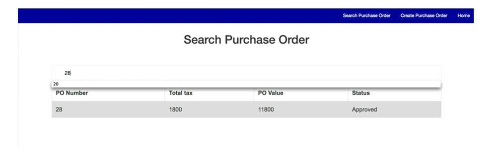 Searching a purchase order
