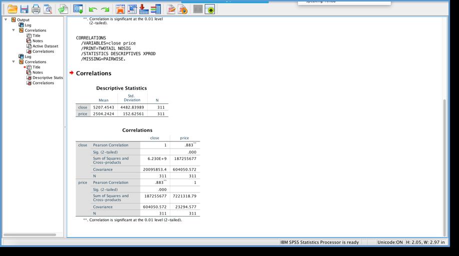 IBM SPSS Statistics Pearson Correlation