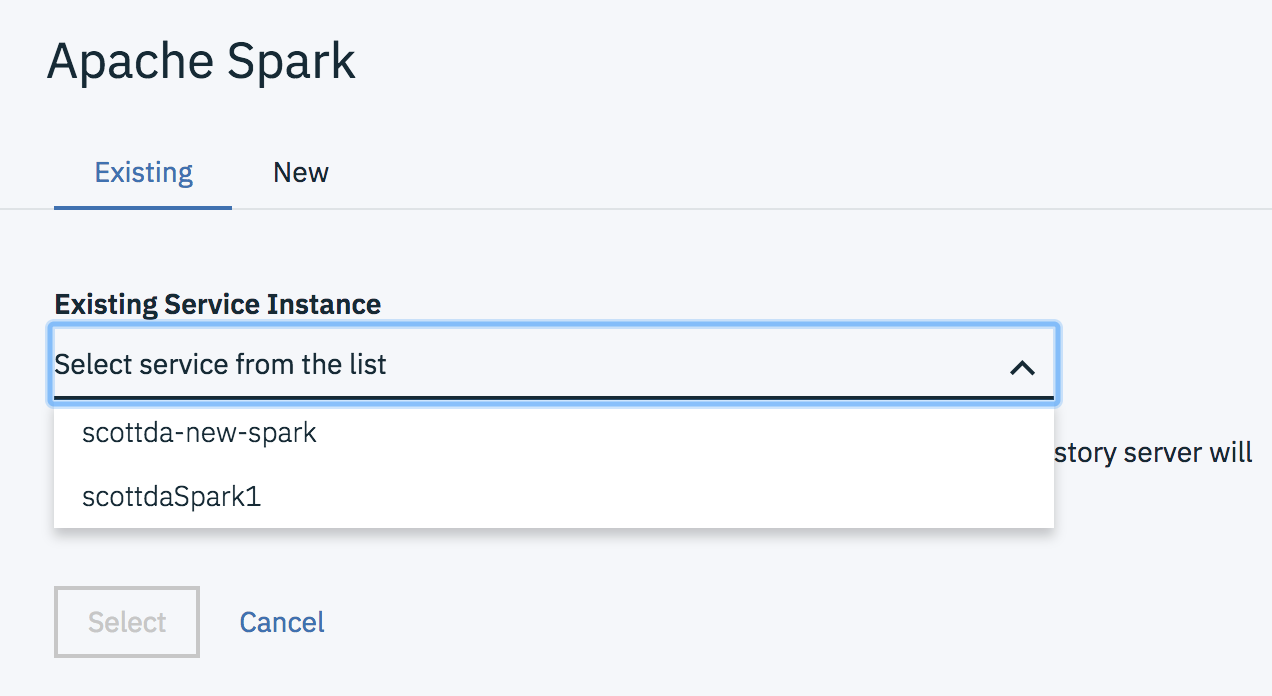 Dialog for selecting a Spark service