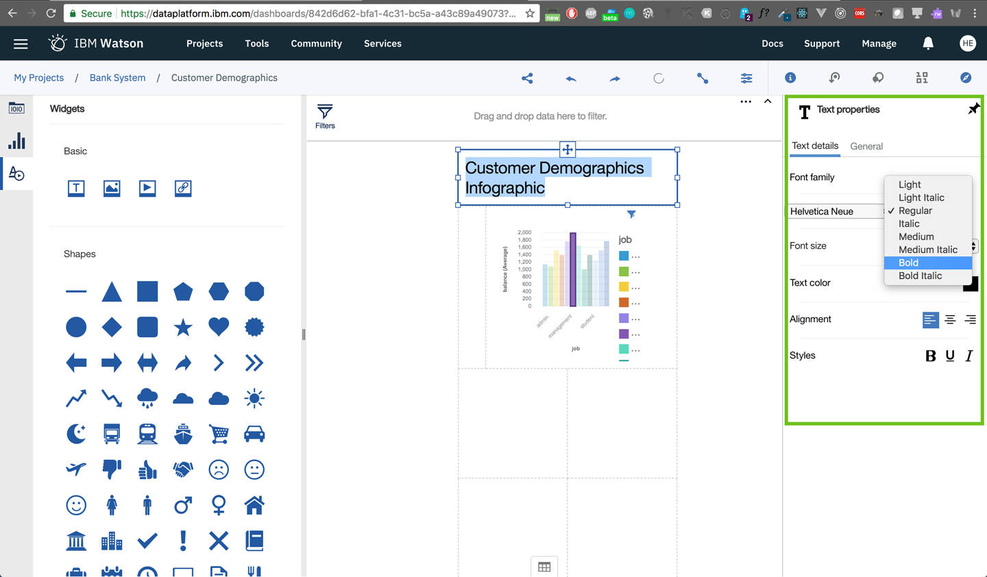 dashboard: edit the Text weight