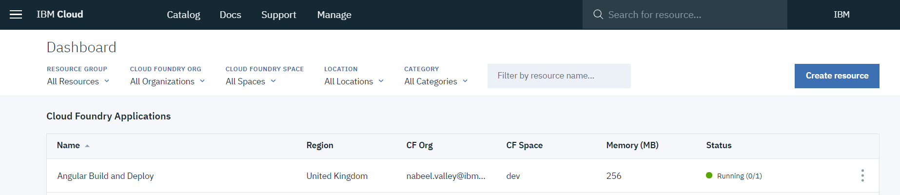 Our Application Resource on the Dashboard