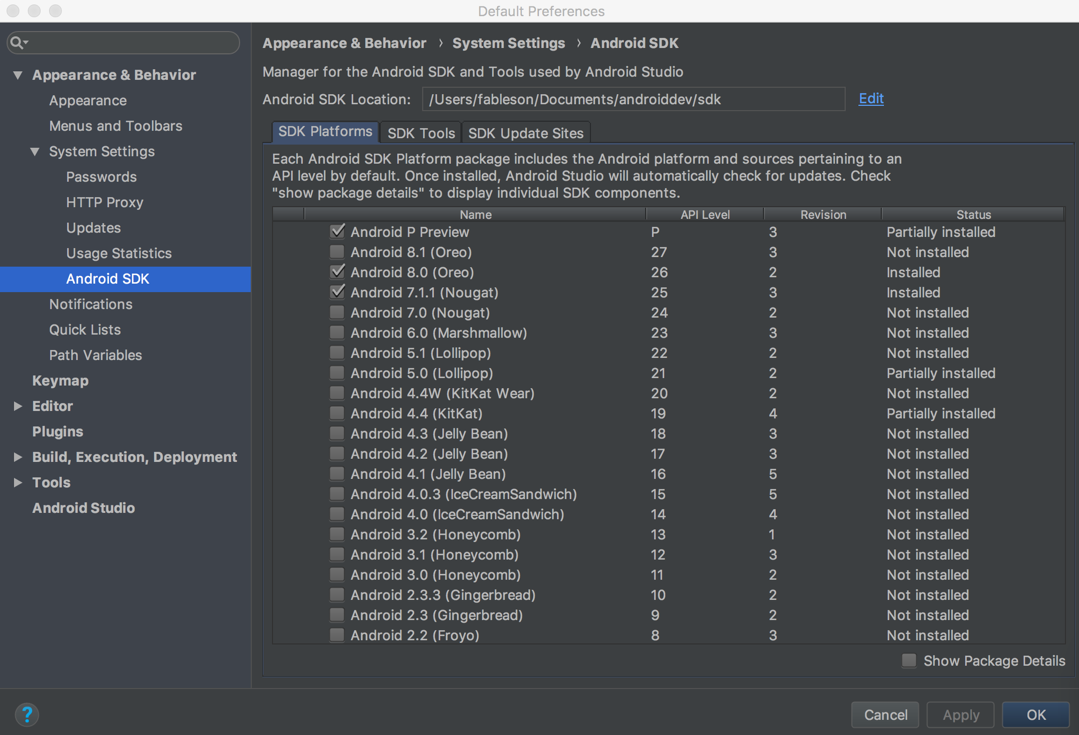 Screen shot of Android Studio Preferences dialog, with the Android SDK Manager listing the available versions of the Android SDK