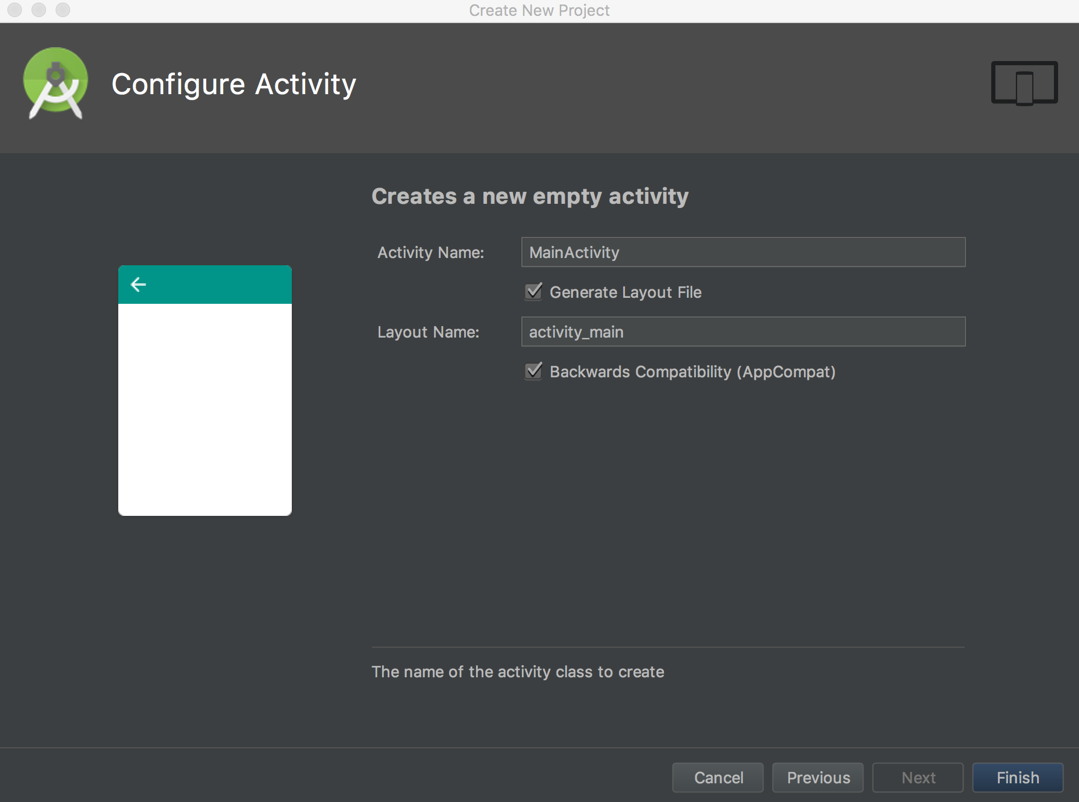 Screen shot of Configure Activity dialog in Android Studio