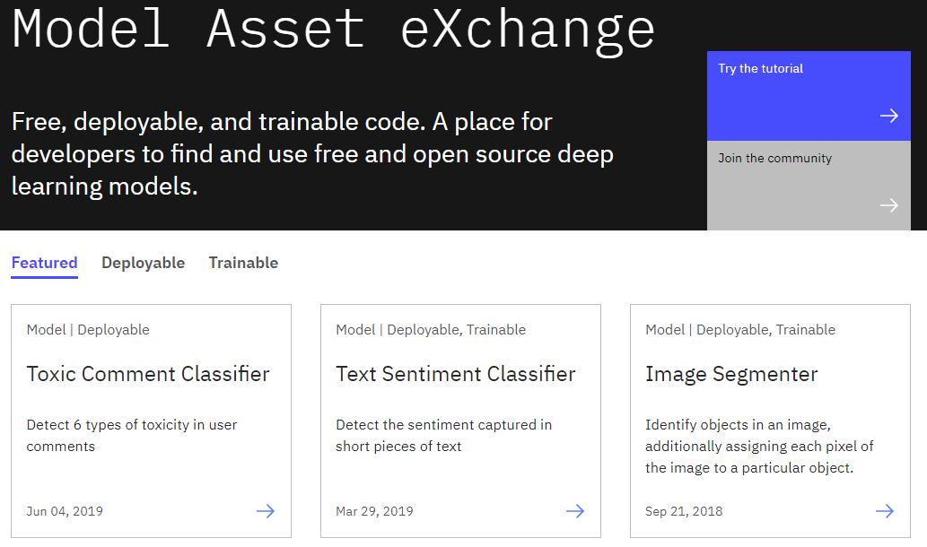 Model Asset Exchange landing page