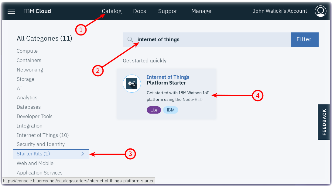Create an Internet of Things Platform Starter application – IBM