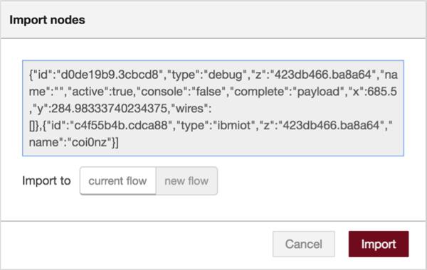 Screen capture of the Import nodes dialog box