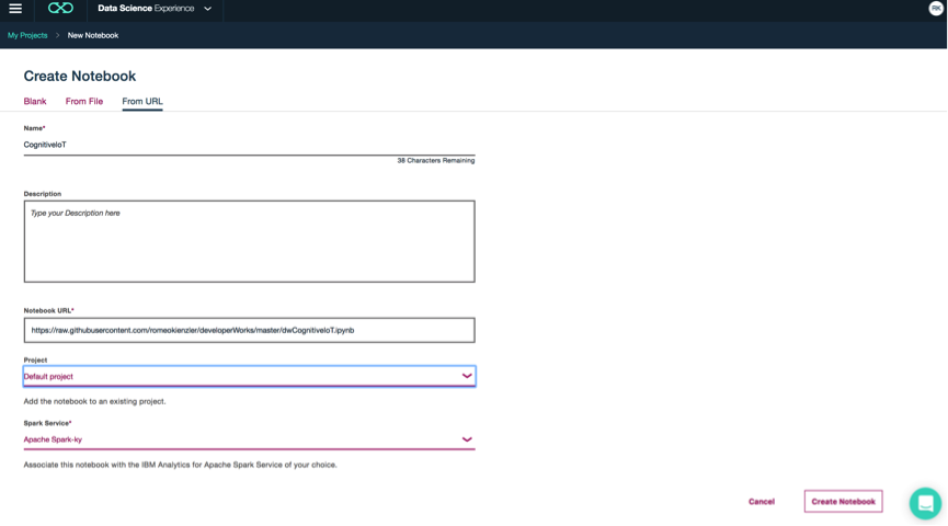 Screen capture of the Create Notebook page in Data Science Experience