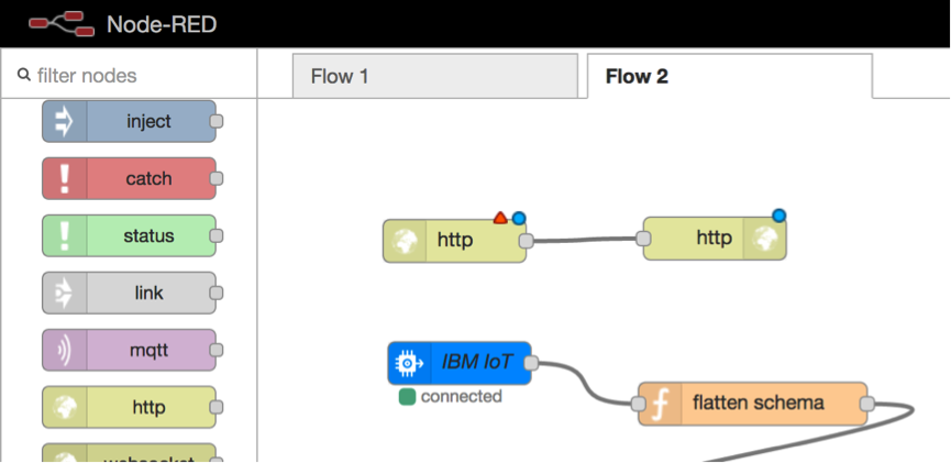 Screen capture of flow with second http node