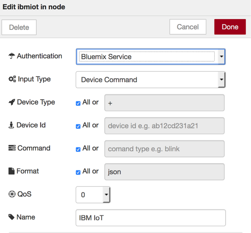 Screen capture of configuration dialog for ibmiot in node
