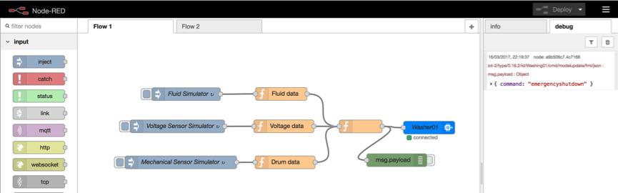 Screen capture of flow with debug panel open
