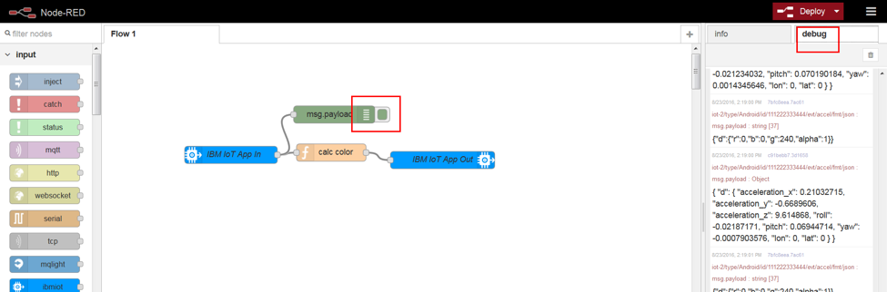 Screen capture of msg.payload node in the the Node-RED editor and the debug tab that shows messages
