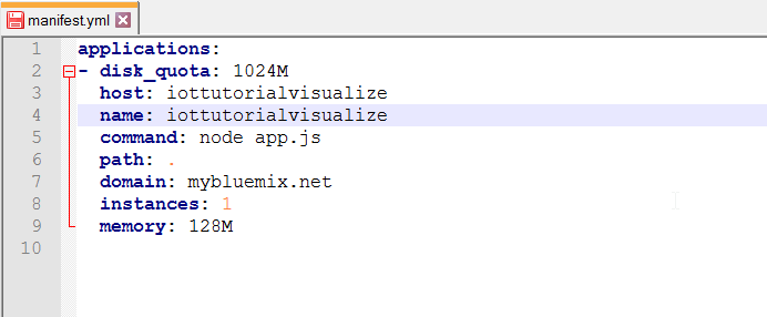 Screen capture of the host and name parameters in the manifest.yml file