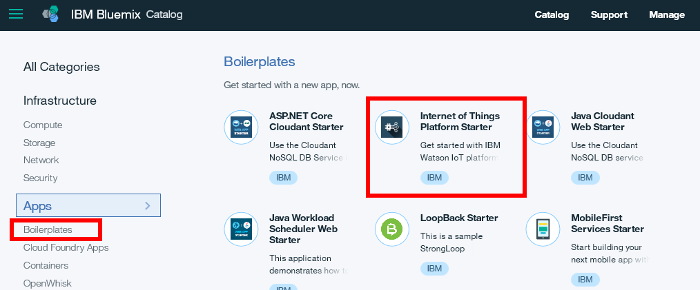 Screen capture of the Internet of Things Platform Starter boilerplate icon