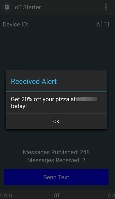 Example offer as device notification