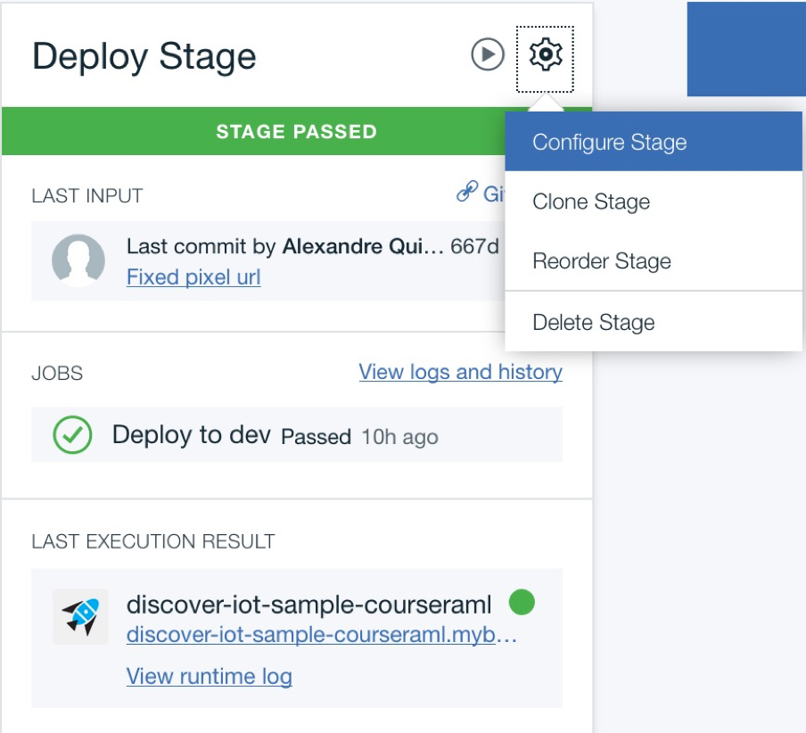screen capture of the deploy stage and gear icon menu
