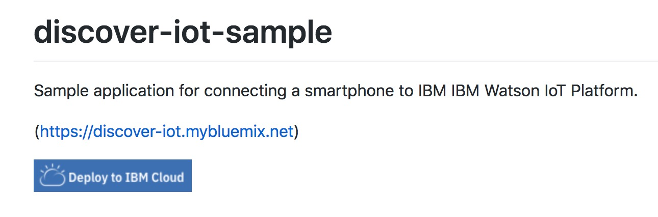 screen capture of the github readme deploy to bluemix button
