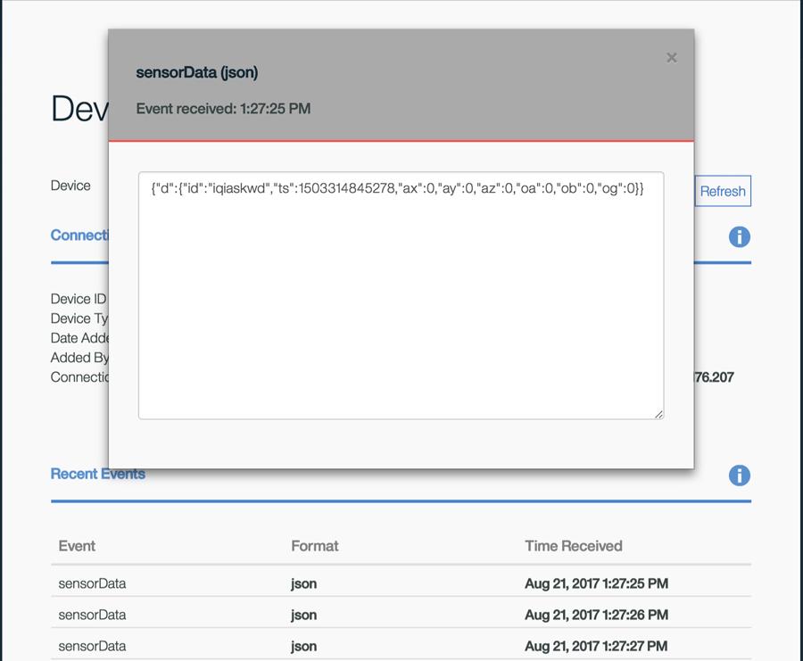 screen capture showing example sensor data