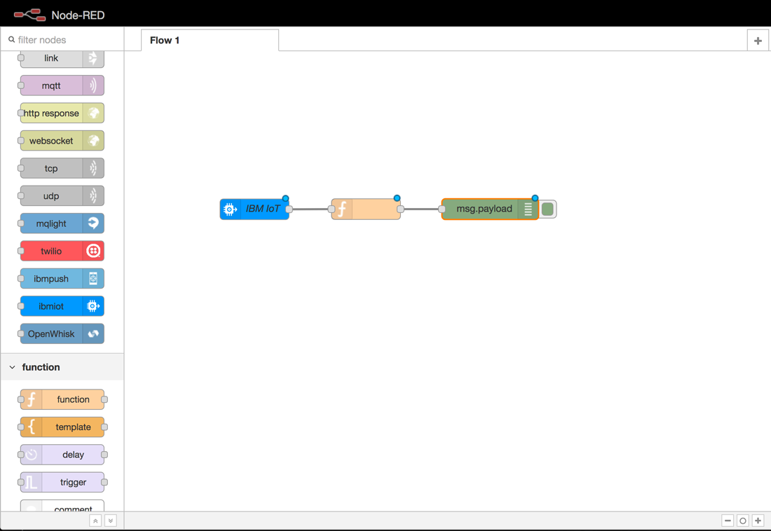 screen capture showing function between IBM IoT and msg.payload nodes