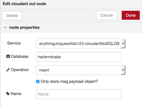 screen capture showing the edit of the cloudant out node