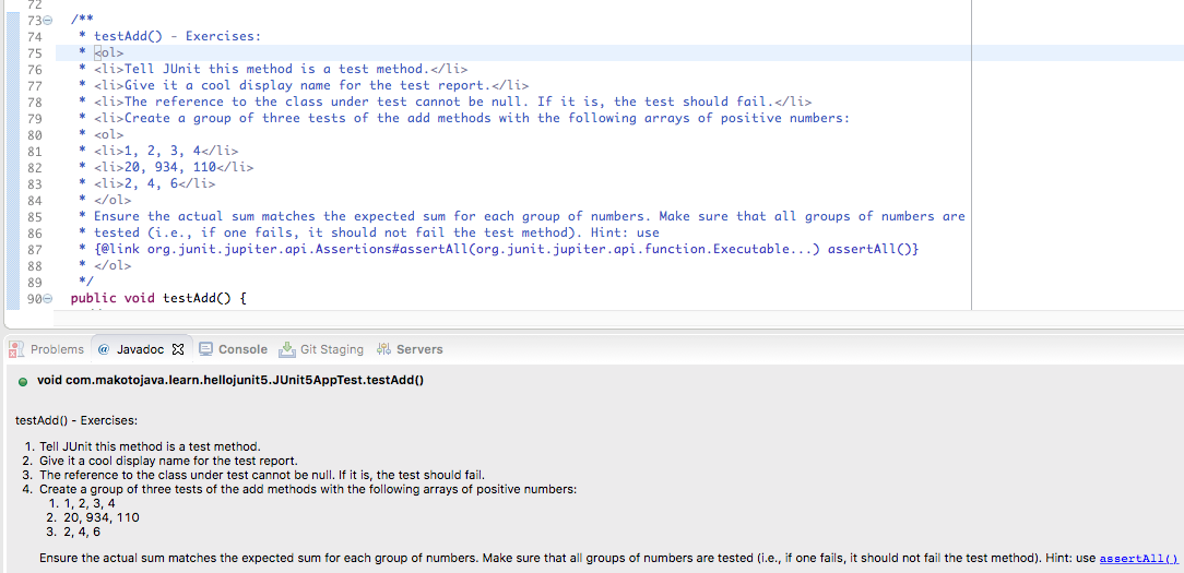 A screenshot of the Javadoc view.