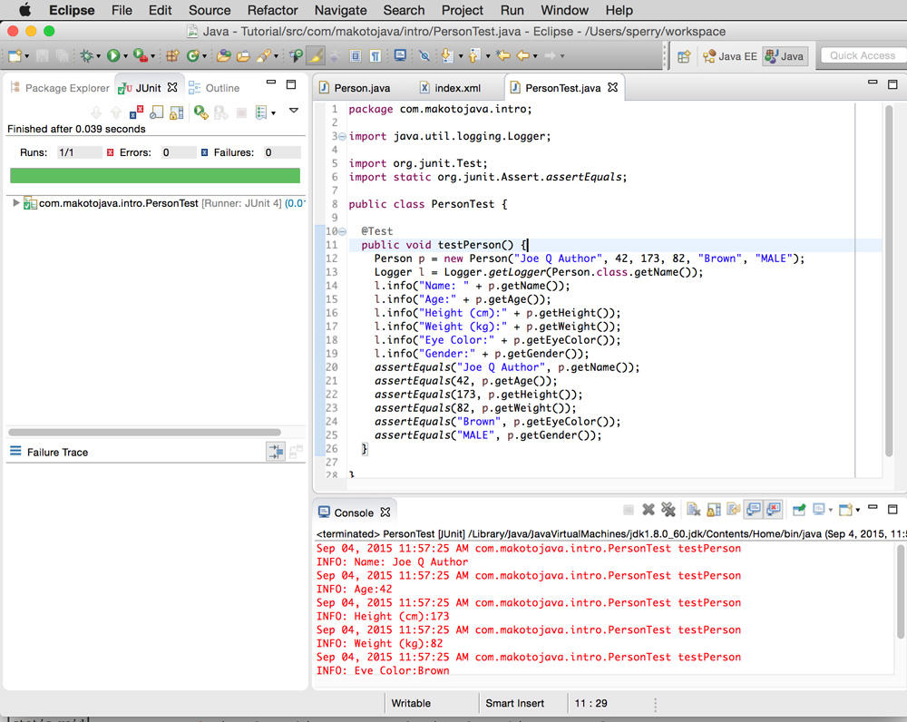 Screenshot of Eclipse running Person as a Java application