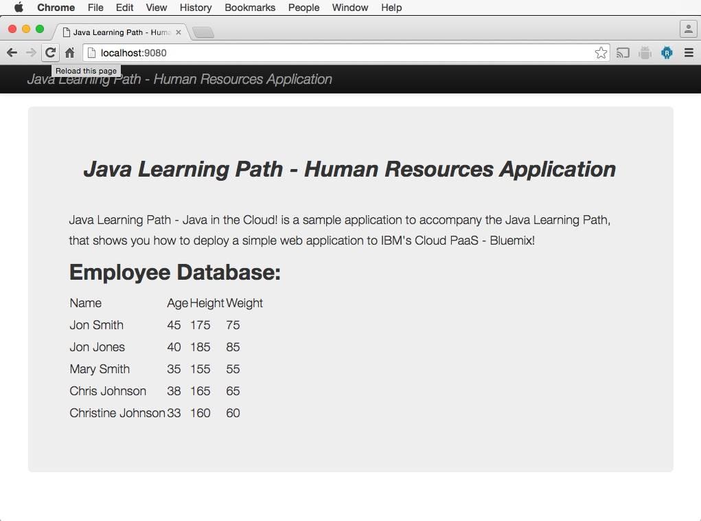 Screenshot of modified human resources application