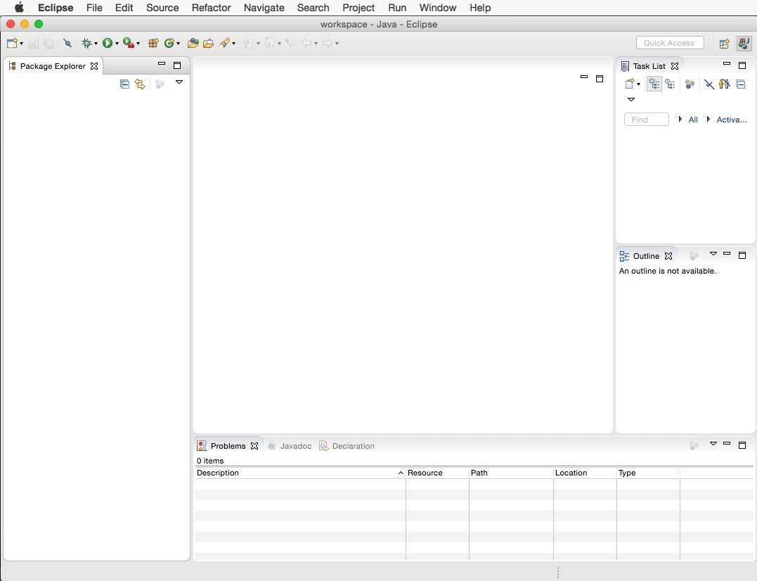 Screenshot of the Eclipse IDE startup screen showing a default Java perspective.