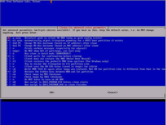 Clonezilla advanced extra parameters: restore