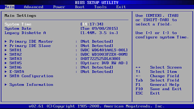 Screenshot of a BIOS main screen with date and time settings
