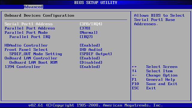 Screenshot of configuring serial, parallel and on-board devices with BIOS