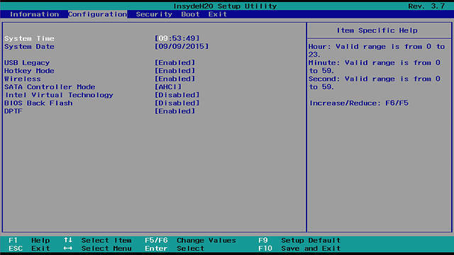 Screenshot of configuring date, time, and on-board devices with UEFI