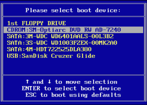 Screen capture of the Startup Device Menu, showing multiple boot device selections, of which the Optiac DVD-RW device is the highlighted selection