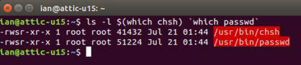 Colored output for two programs with suid permission