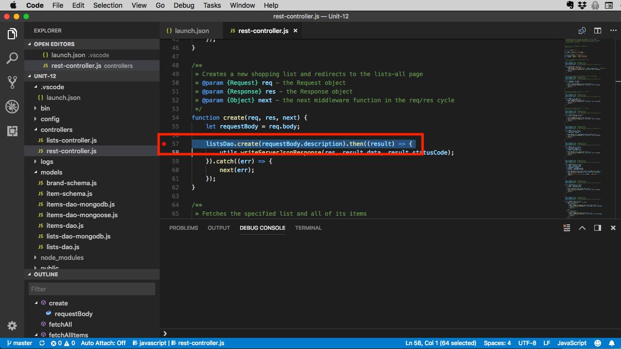 Set a breakpoint in VSCode