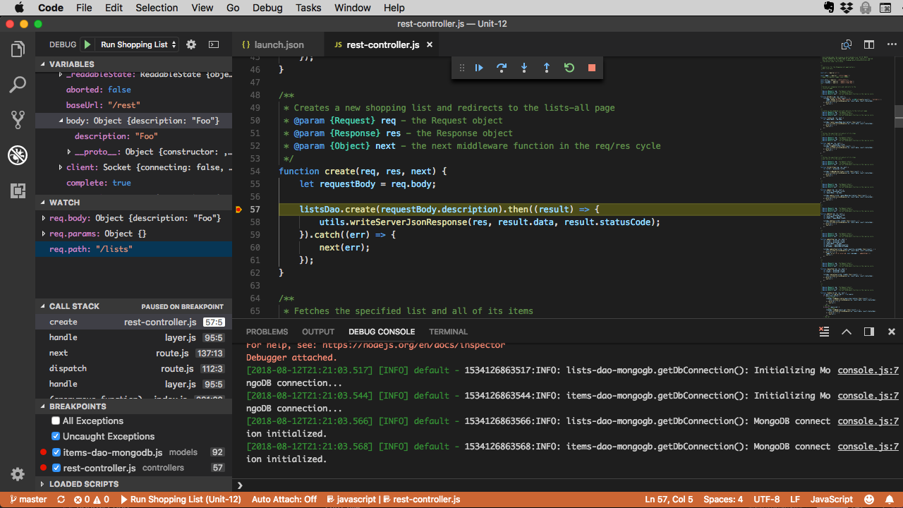 Inspect variables in the VARIABLES pane in VSCode