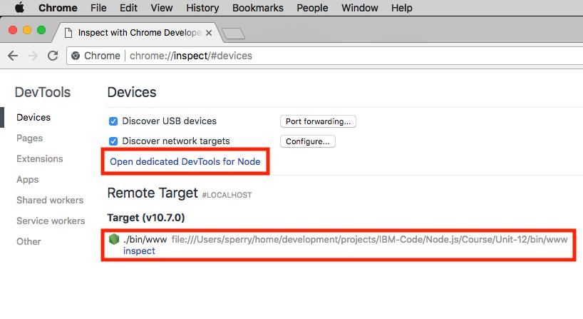 Accessing the Chrome DevTools UI