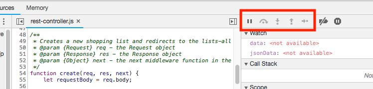 DevTools debugger navigation buttons