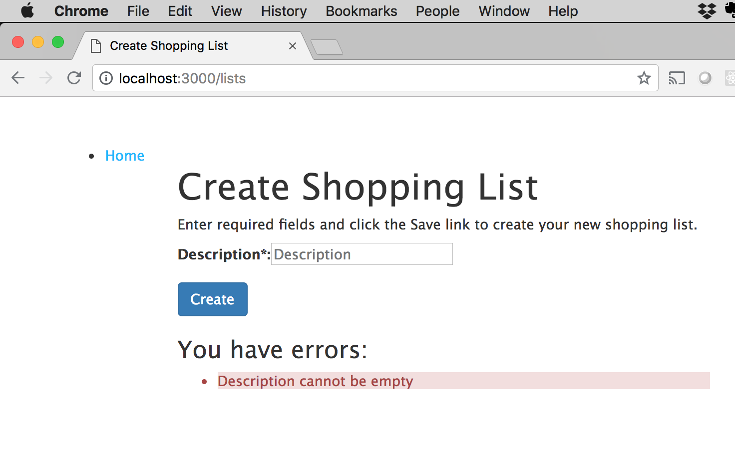 Create Shopping List page with validation error