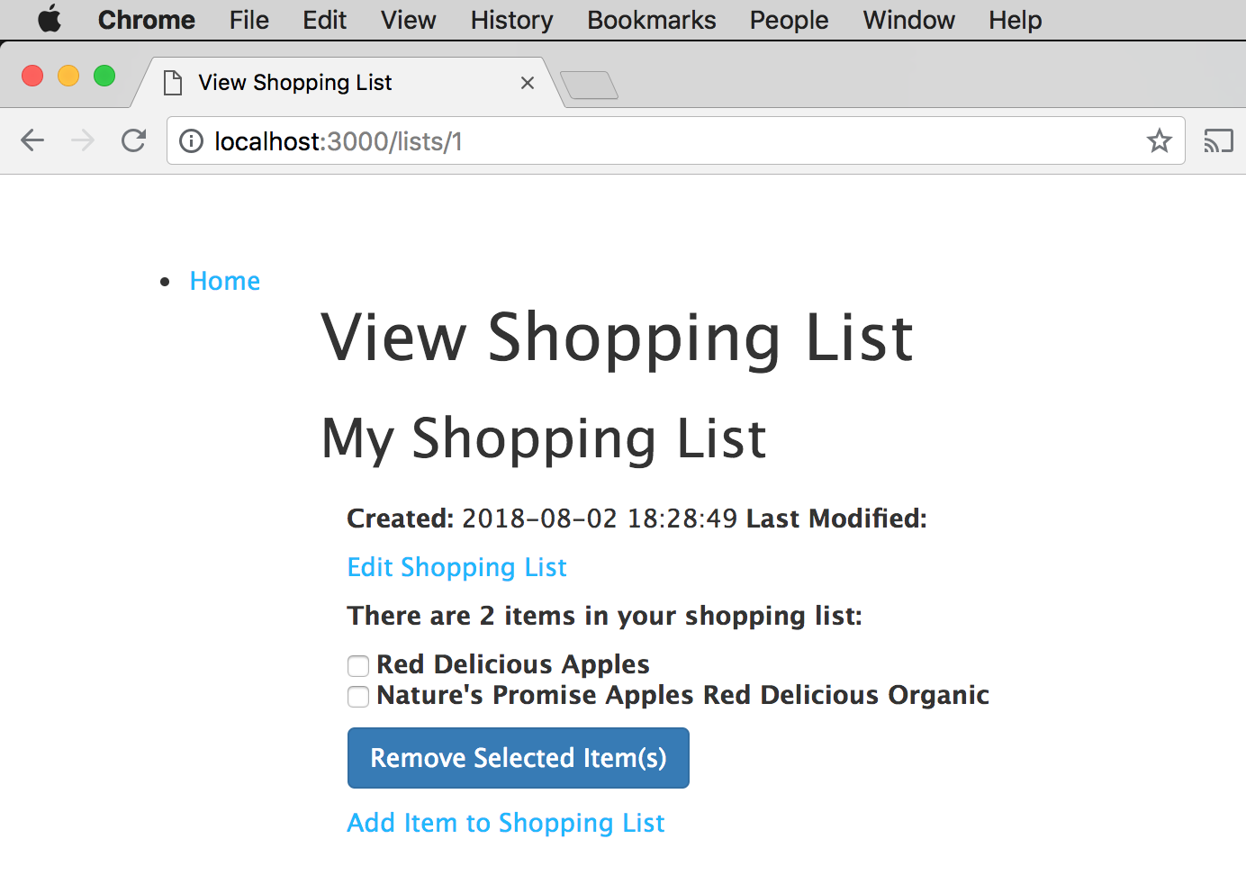 My Shopping List with items
