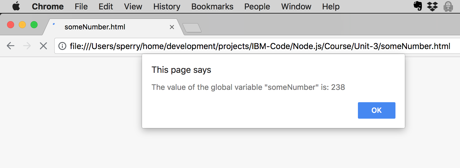 Global variable test in the browser