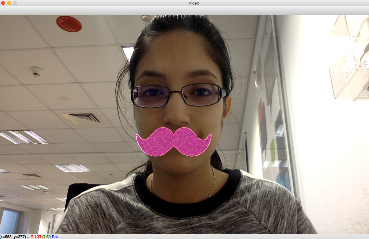 Example real-time image with mustache filter applied