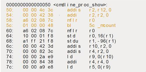 Objdump of cmdline_proc_show function compiled with -pg and -mprofile-kernel flags
