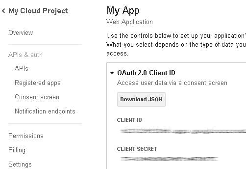OAuth credentials in Google Cloud Console