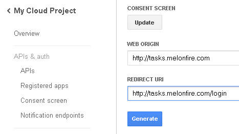 Redirection URL settings in Google Cloud Console