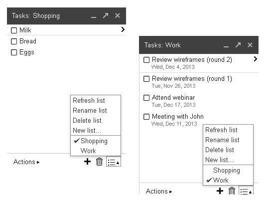 Google Tasks interface in Gmail
