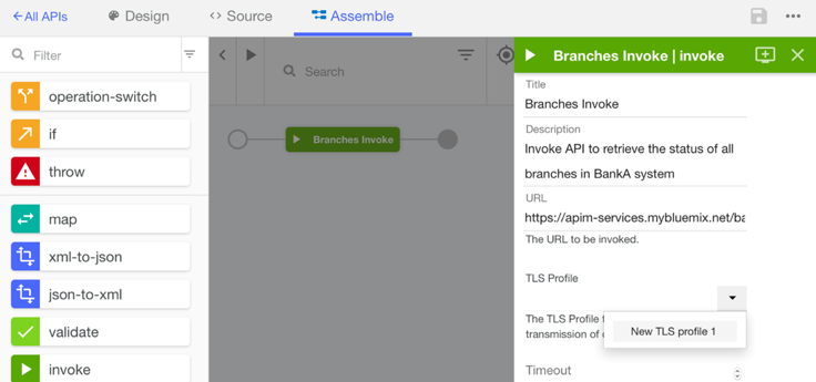 The Assemble section in API Connect