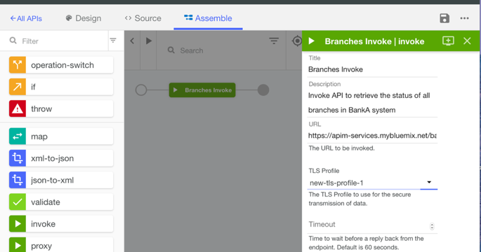 An Assemble section with a TLS profile added