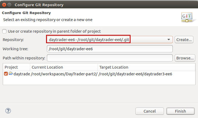 Configure Git Repository for daytrader-ee6