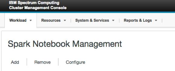 Spark notebook management console