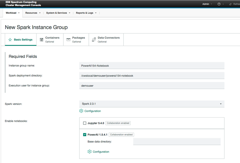 New spark instance group window